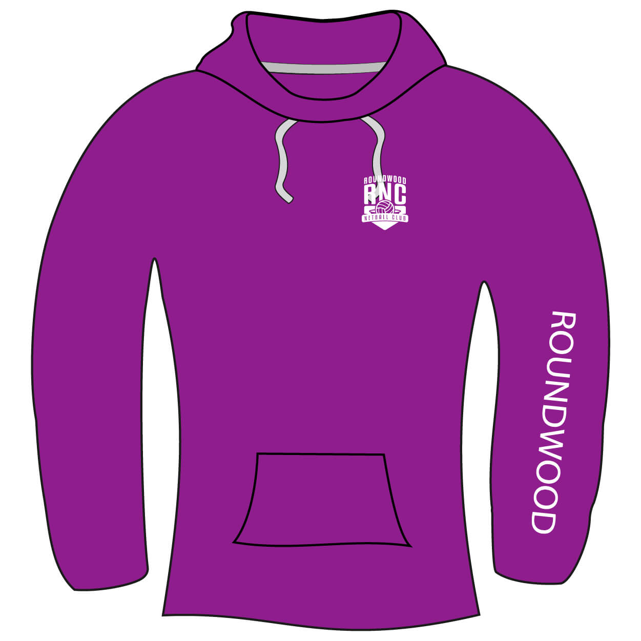 roundwood netball club_Hoodie Front ARM PRINT