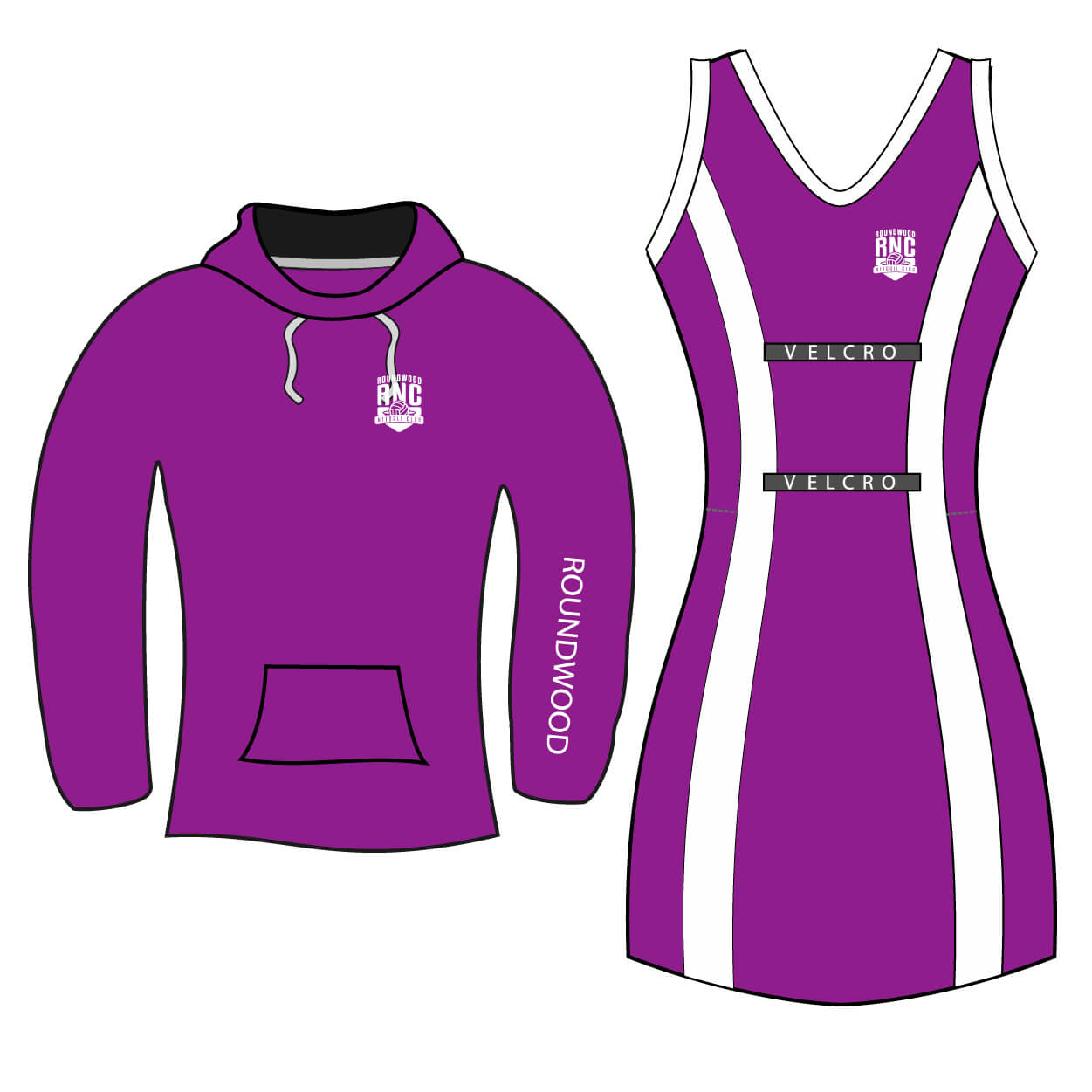 roundwood netball club_Netball Dress and Hoodie Combo