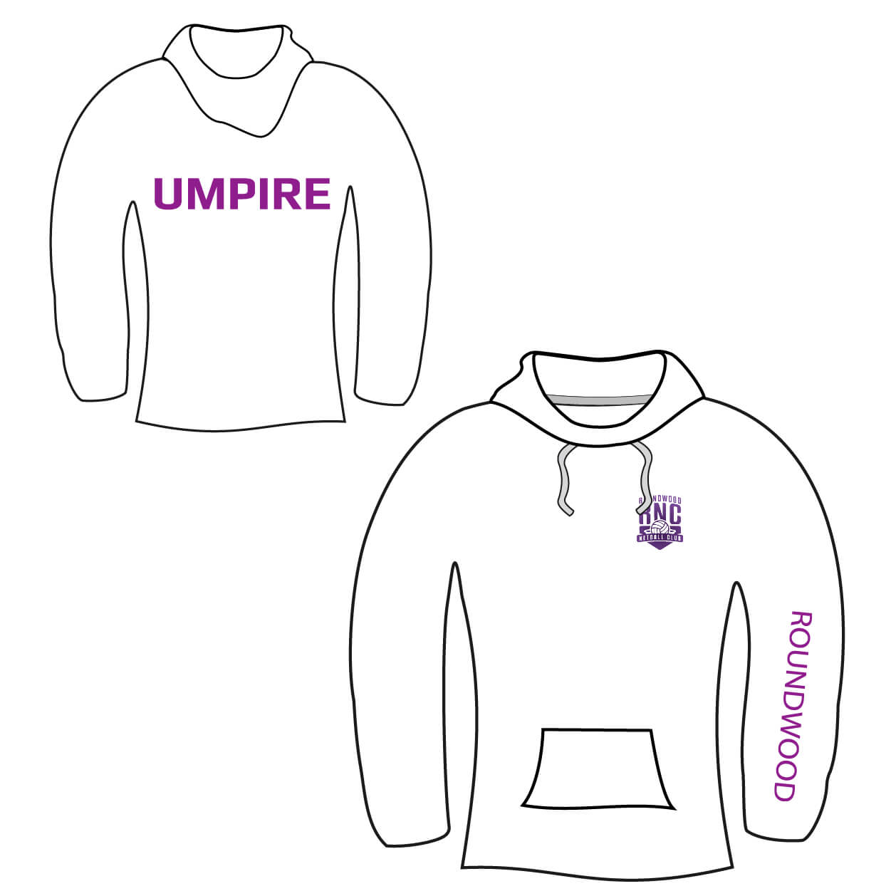 roundwood netball club_Umpire Hoodie white