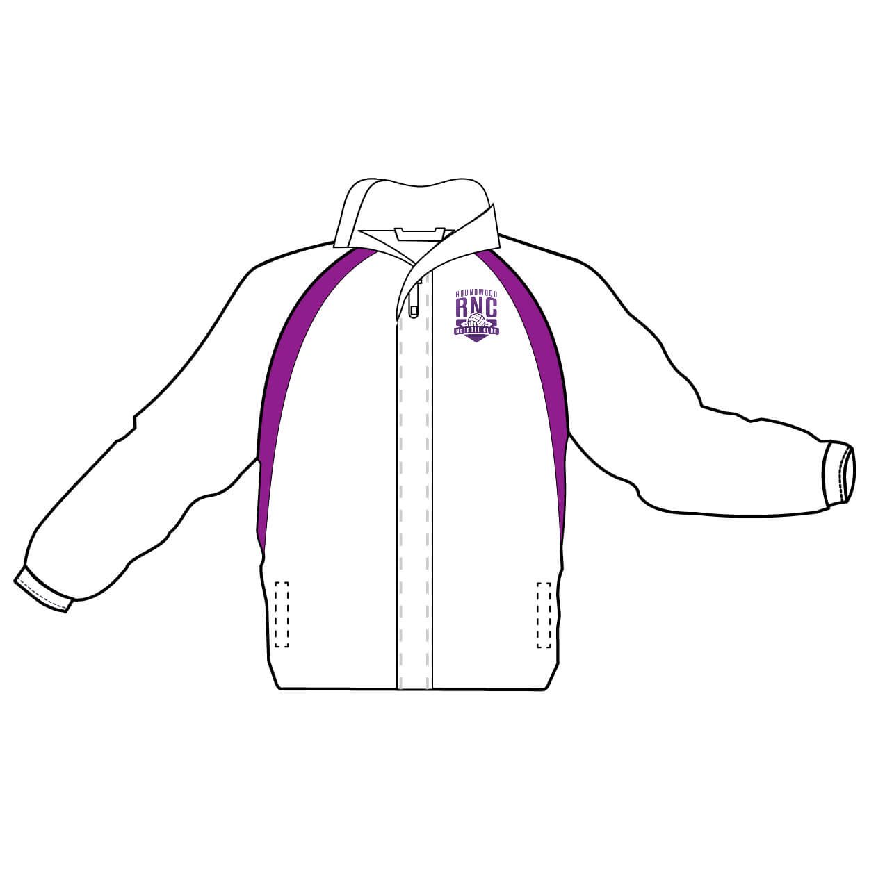 roundwood netball club_Umpire Jackets white-purple
