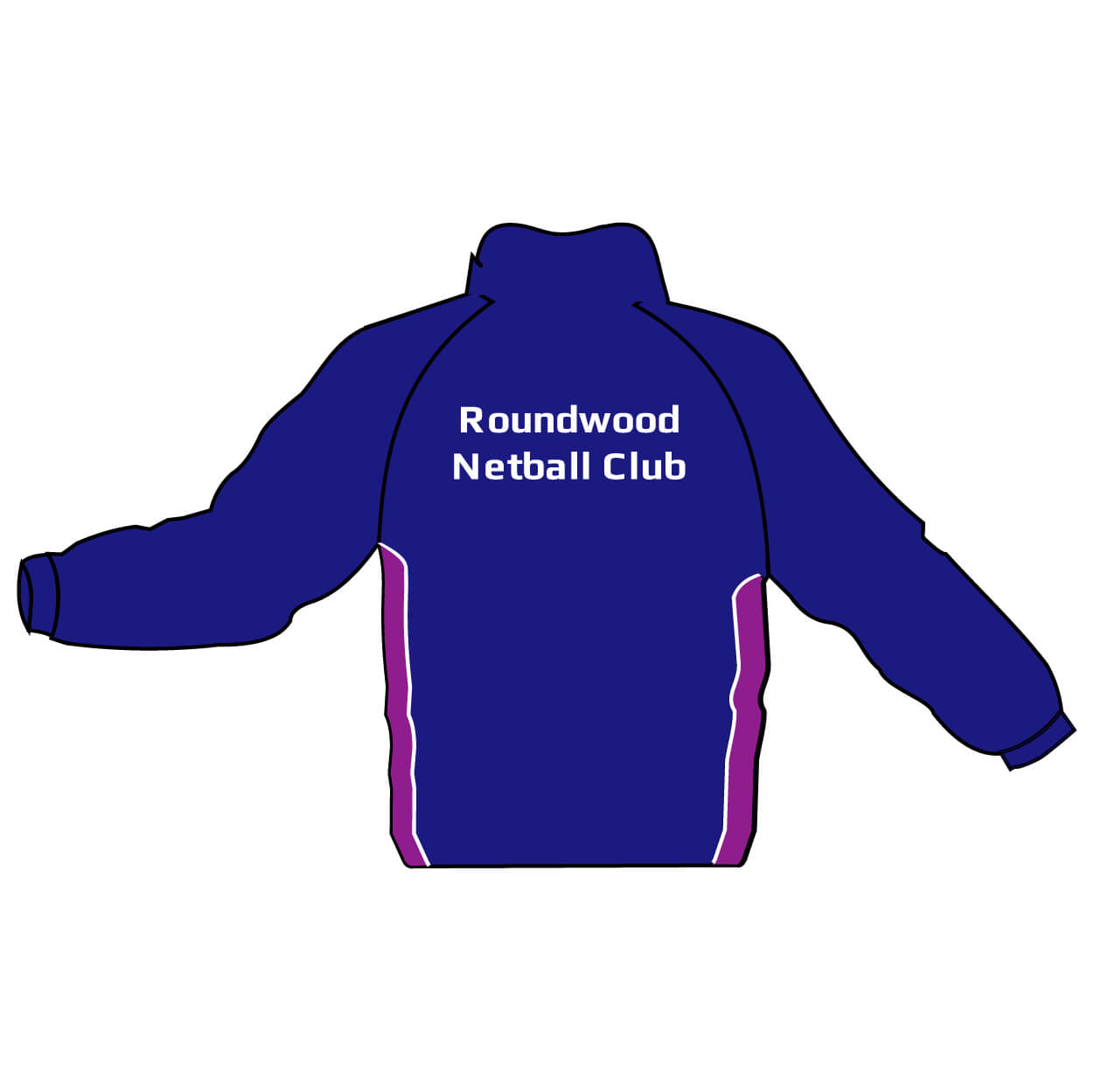 roundwood netball club_back print on jacket